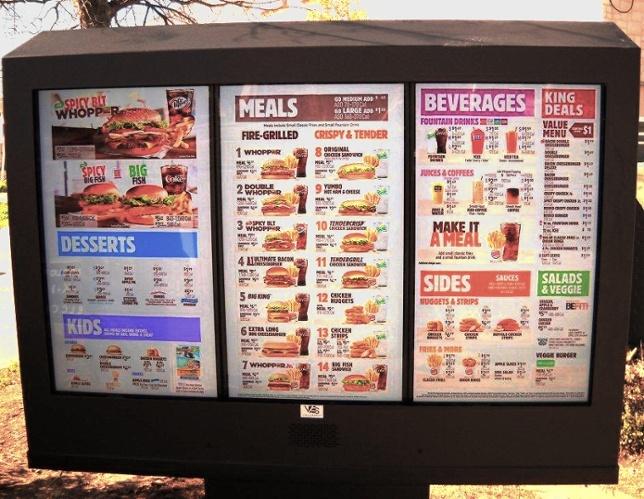 Burger King Outdoor Digital Menu Board by ITSENCLOSURES